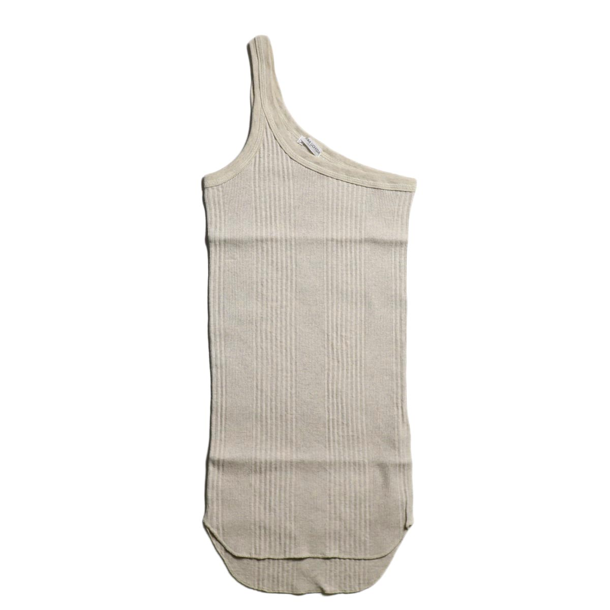FUMIKA UCHIDA / COTTON RIB ONESHOULDER TANK TOP-OATMEAL