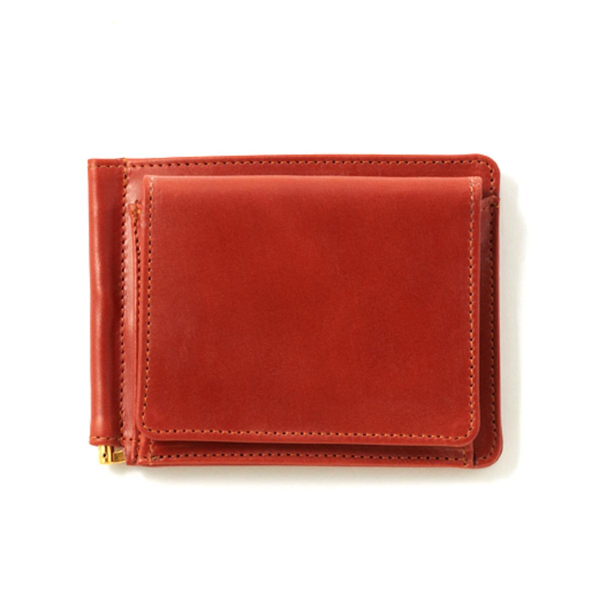 GLEN ROYAL / MONEY CLIP WITH COIN POCKET -OXFORD TAN