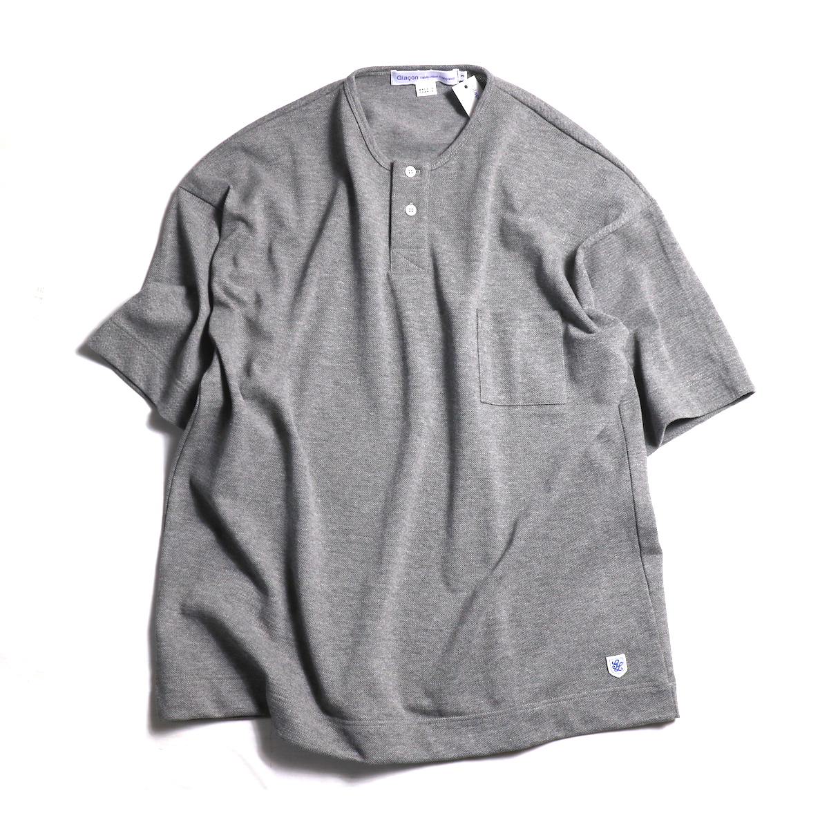 Glacon / Pique Big No Collar Tee -Gris Chine
