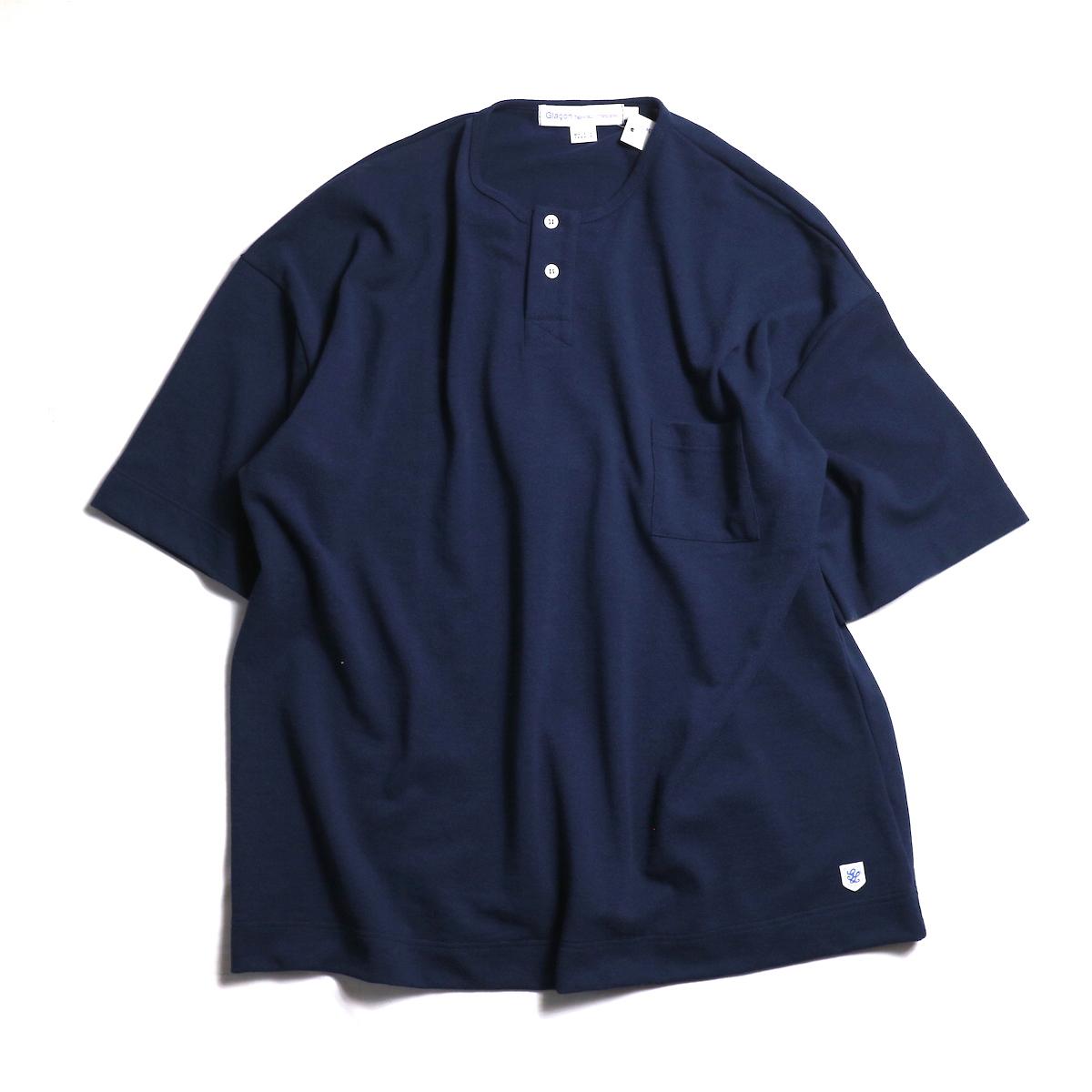 Glacon / Pique Big No Collar Tee -Marine