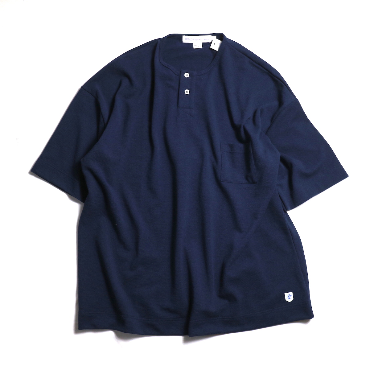 Glacon / Pique Big No Collar Tee -Marine