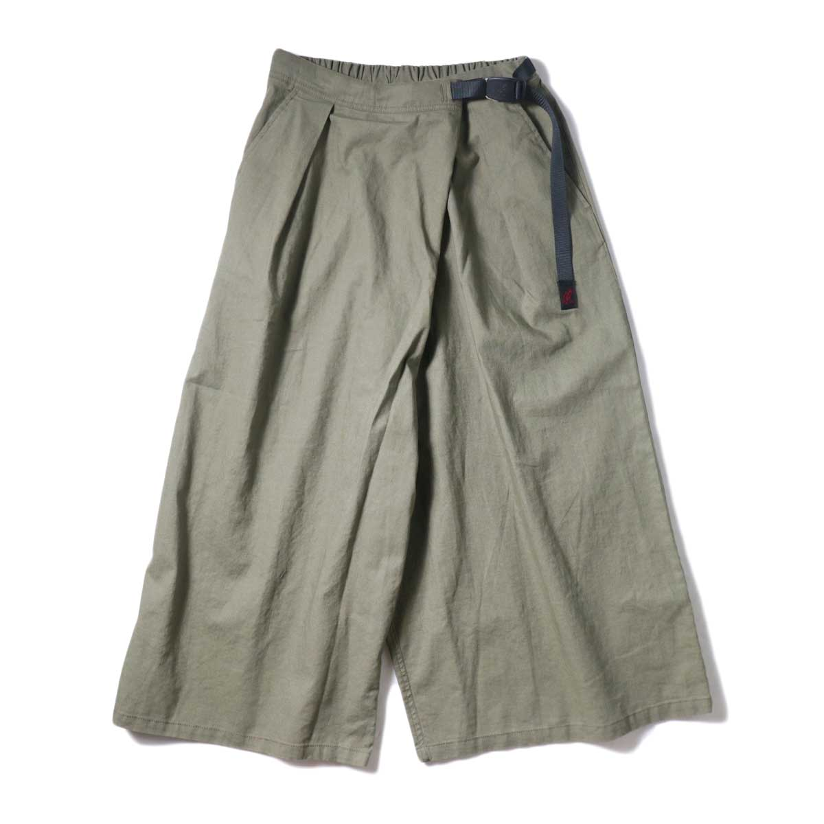 (Ladie's) GRAMICCI / LINEN WRAP FLARE PANTS (Ash Green)