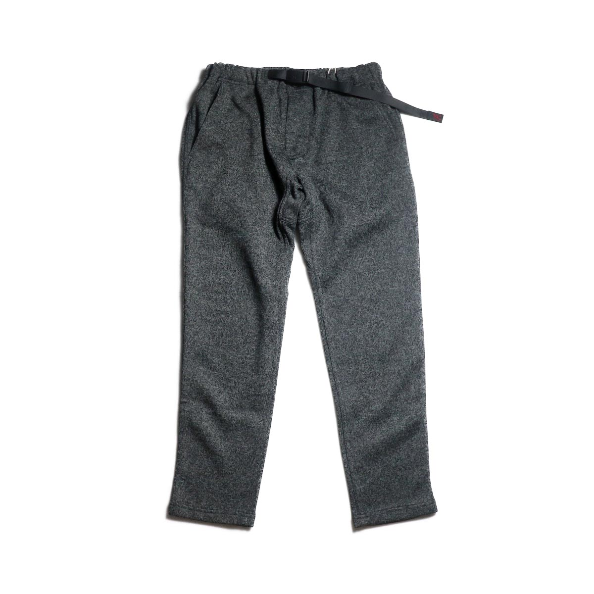 GRAMICCI / BONDING KNIT FLEECE SLIM PANTS (Charcoal × Black)