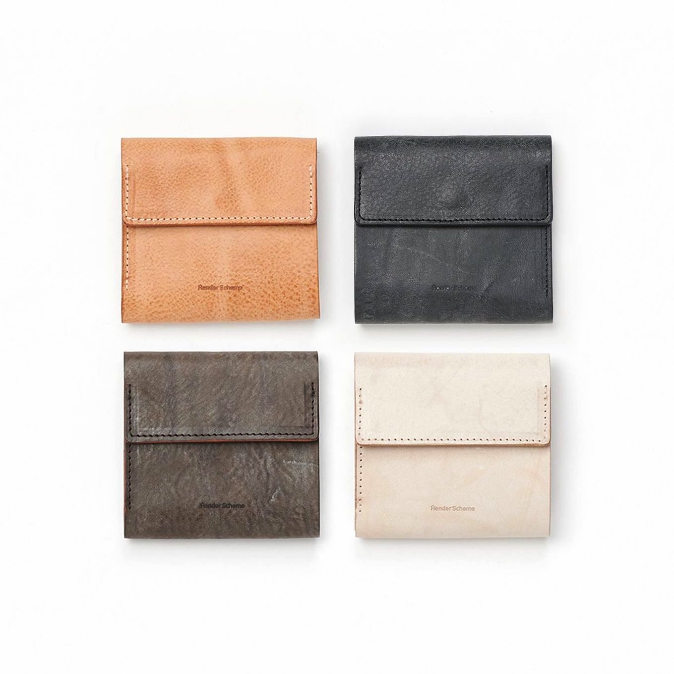Hender Scheme / clasp wallet 左上natural , 右上black , 左下choco , 右下ivory