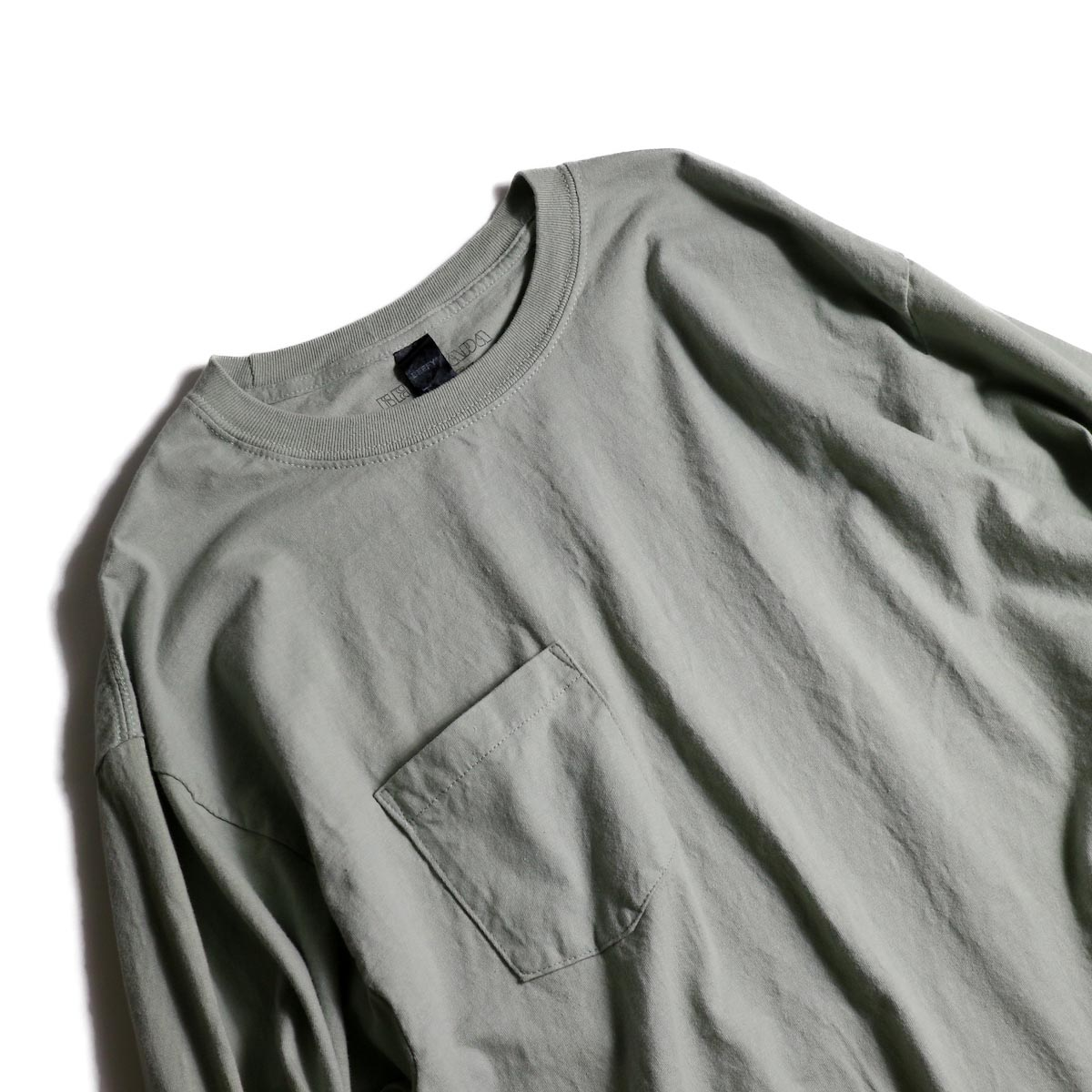 HESTRADA GEE-WIZ / SWITCH L/S Tee (Stone Green)襟、ポケット