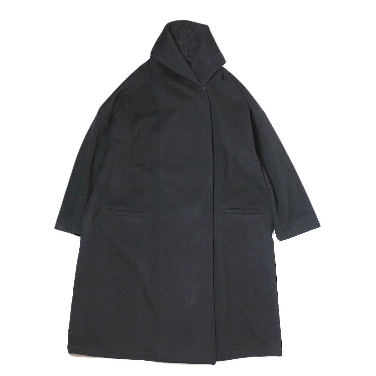 Honnete / Shawl Collar Wide Coat (Black)