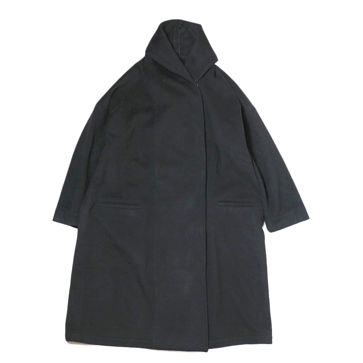 Honnete / Shawl Collar Wide Coat (Black) 正面