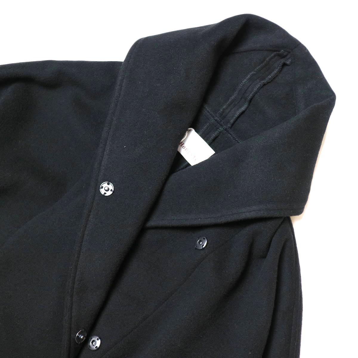 Honnete / Shawl Collar Wide Coat (Black) 襟・ボタン