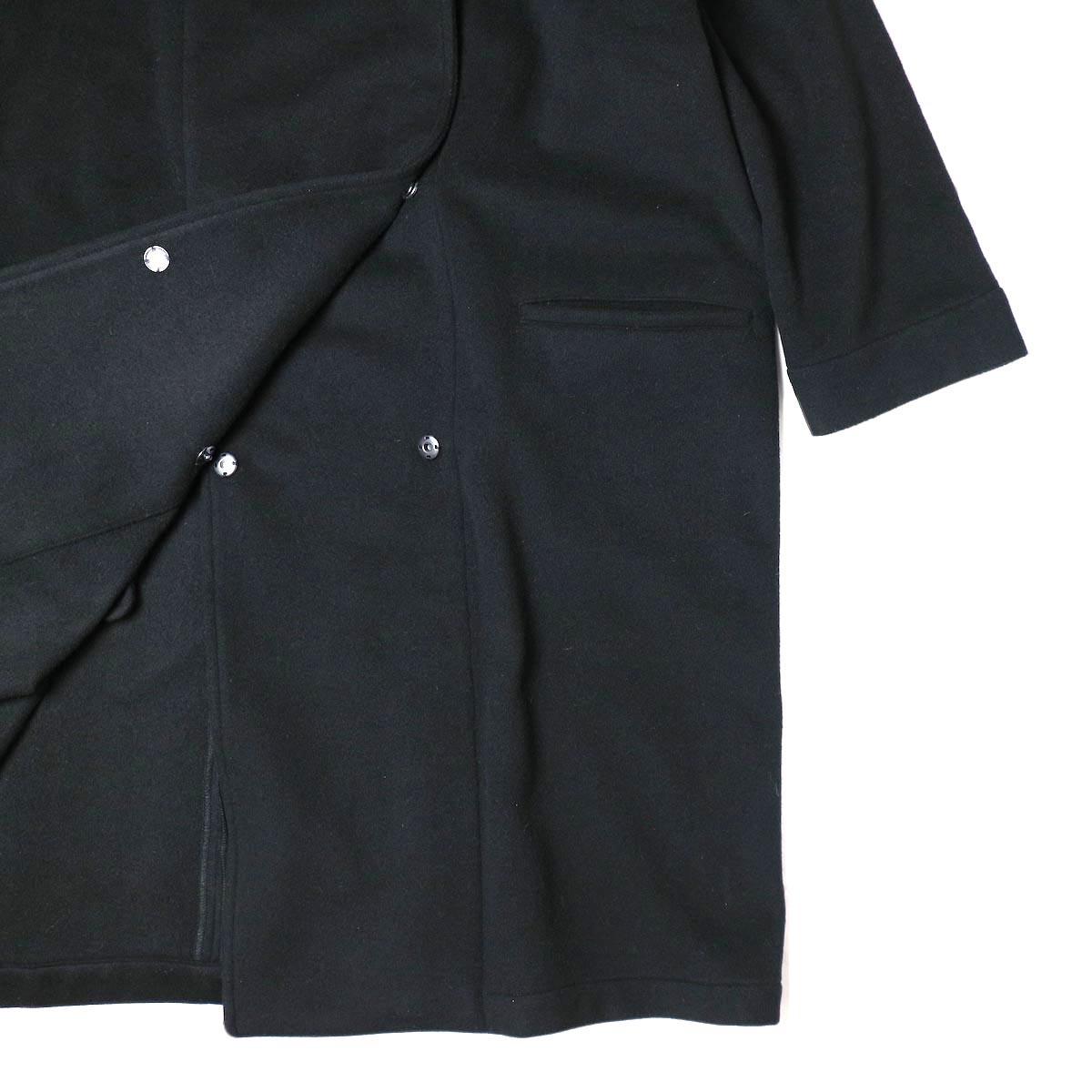 Honnete / Shawl Collar Wide Coat (Black) ポケット・裾