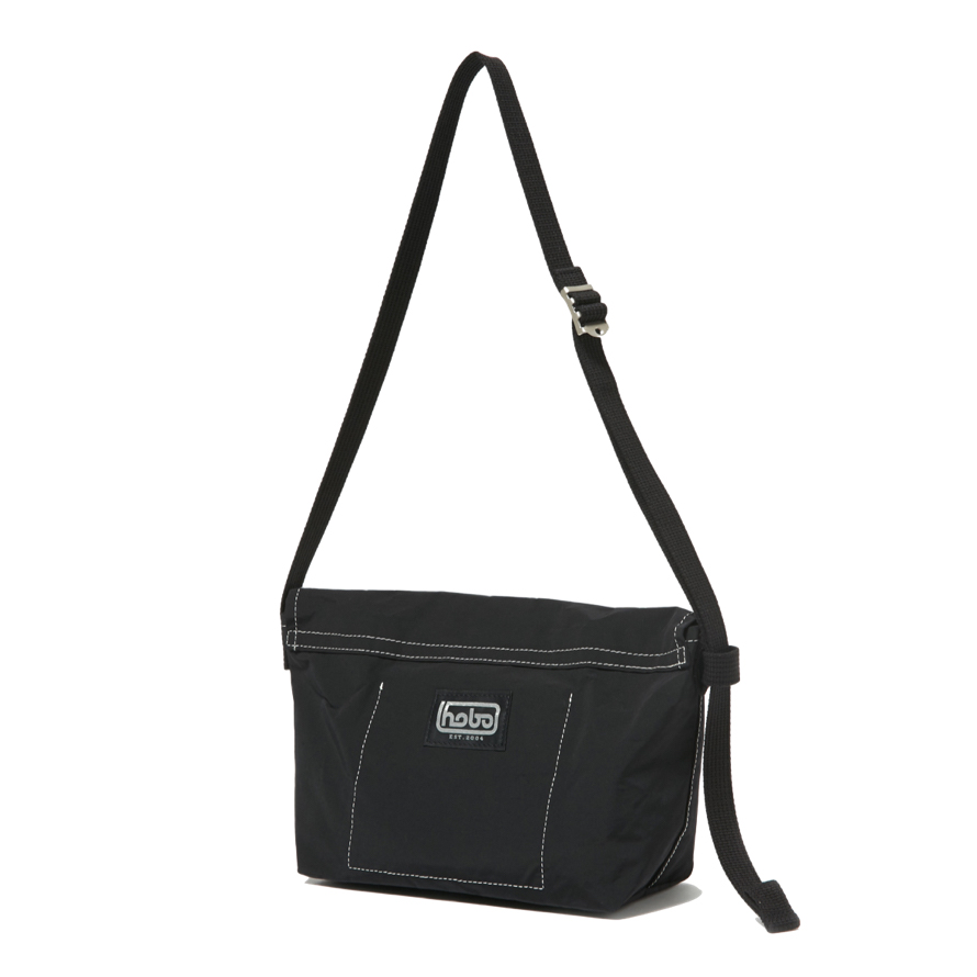 HOBO / Cotton Nylon Grosgrain Flap Shoulder Bag -black