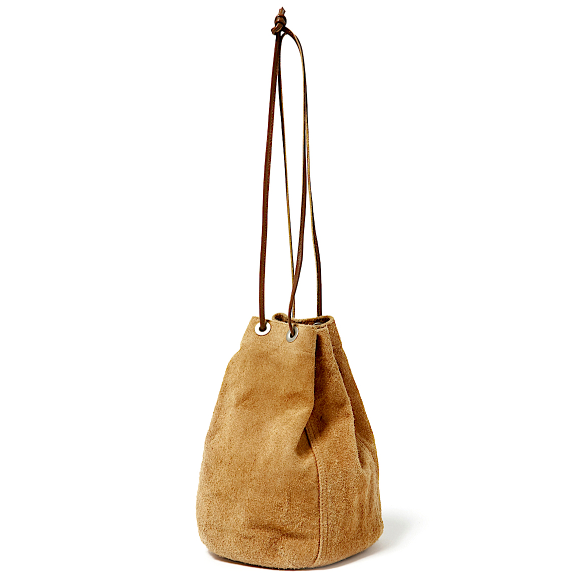HOBO / COW LEATHER DRAWSTRING BAG -BEIGE