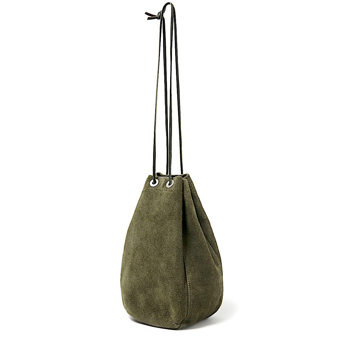 HOBO / COW LEATHER DRAWSTRING BAG -OLIVE