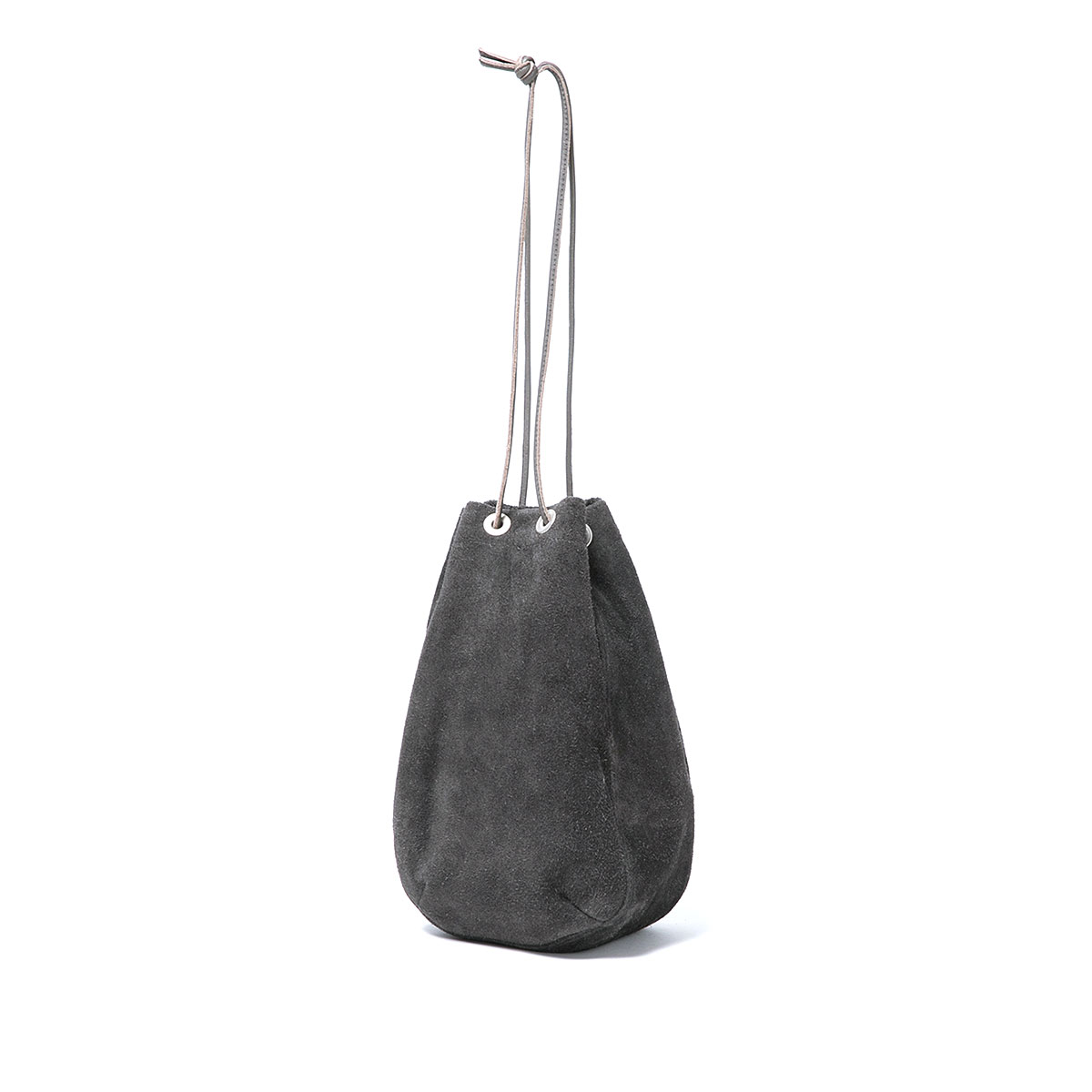 HOBO / COW LEATHER DRAWSTRING BAG -GRAY