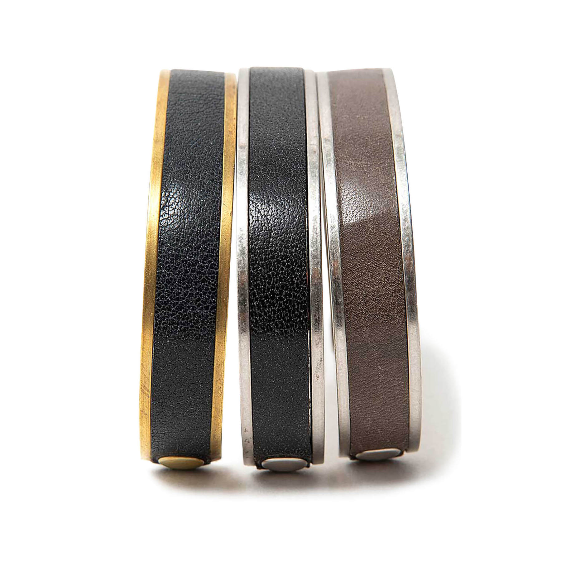 HOBO / BRASS BRACELET with OILED COW LEATHER S