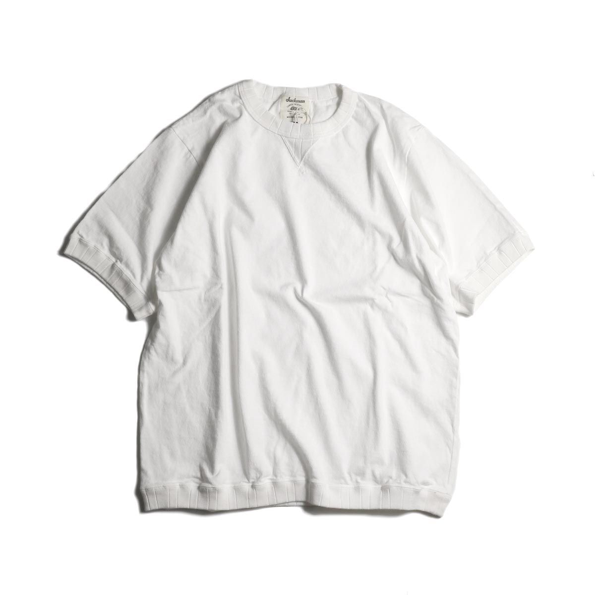 Jackman / Rib T-Shirt (White)正面