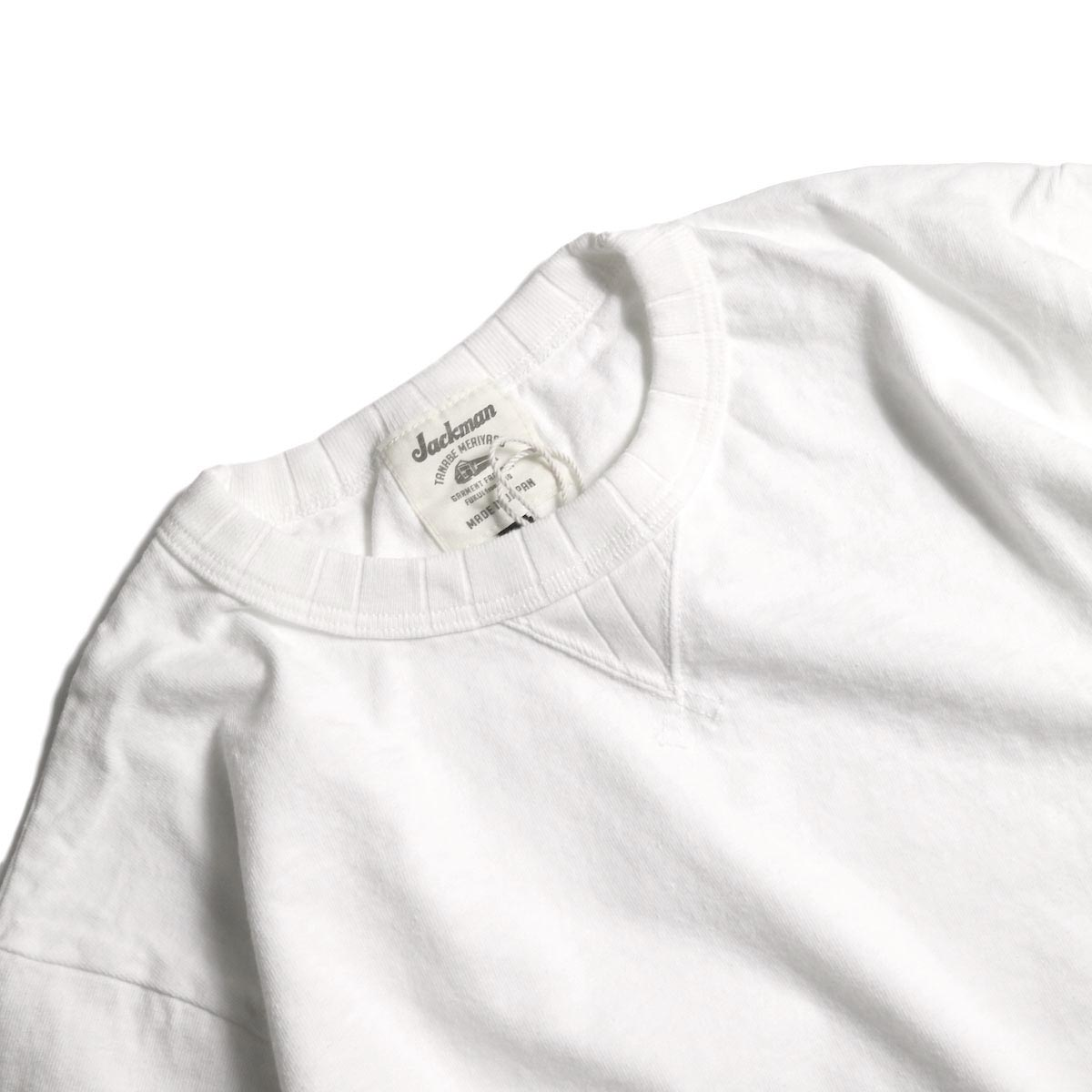 Jackman / Rib T-Shirt (White) ガセット