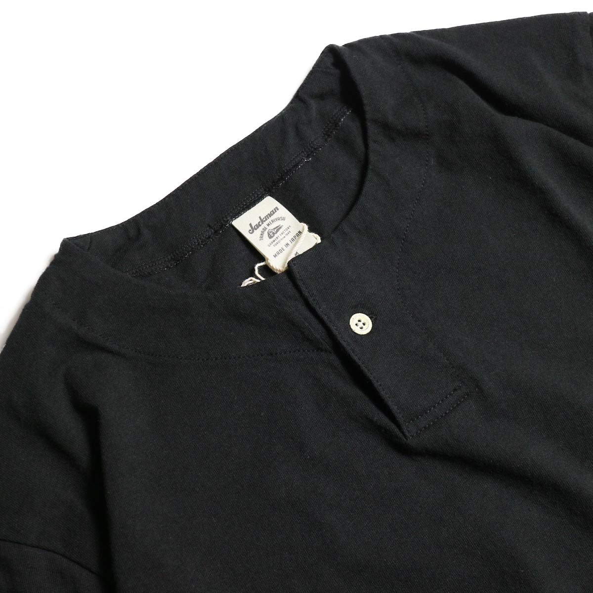Jackman / Henley neck T-Shirt (Black)ヘンリーネック