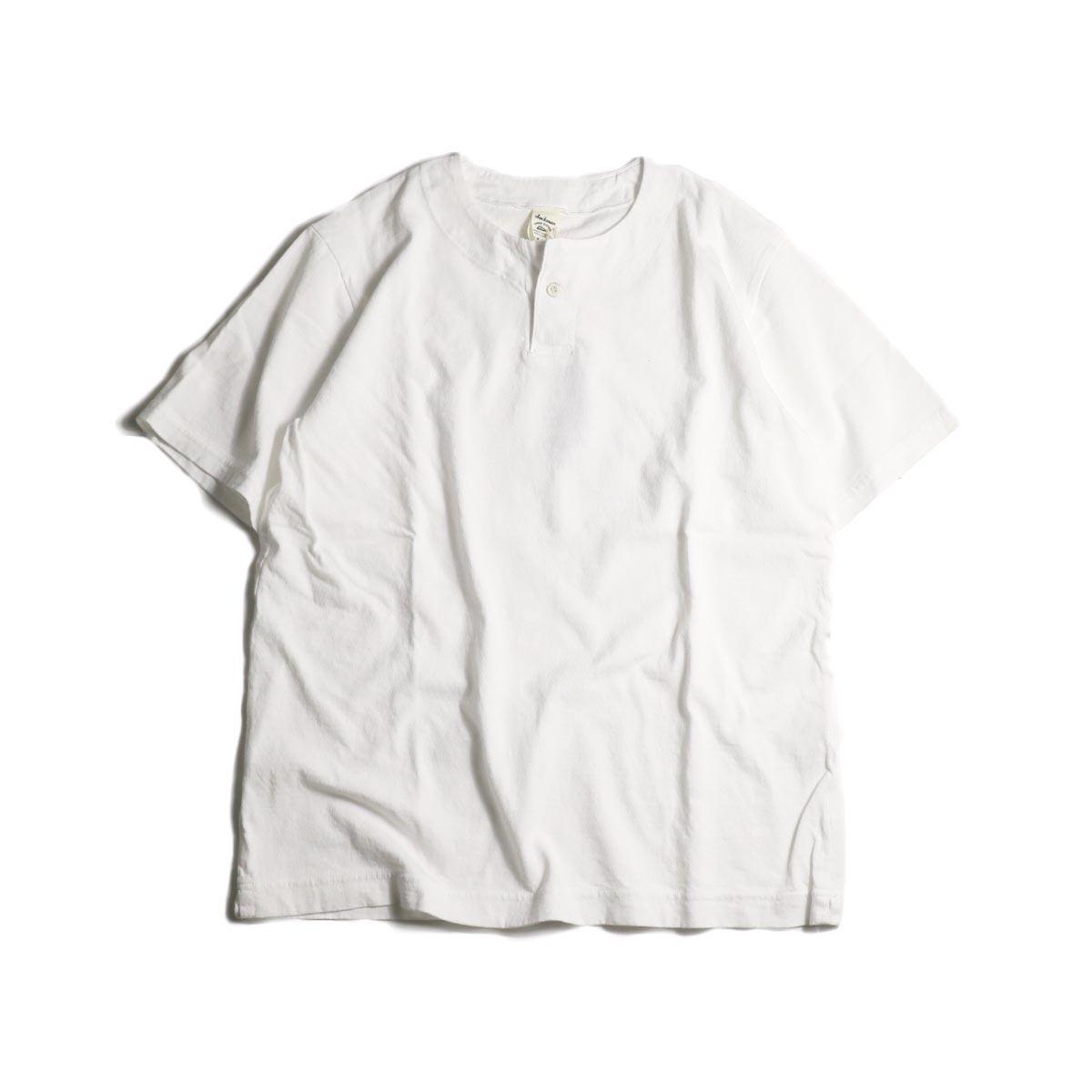 Jackman / Henley neck T-Shirt (White)正面