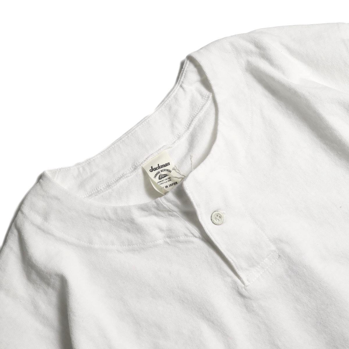 Jackman / Henley neck T-Shirt (White)ヘンリーネック