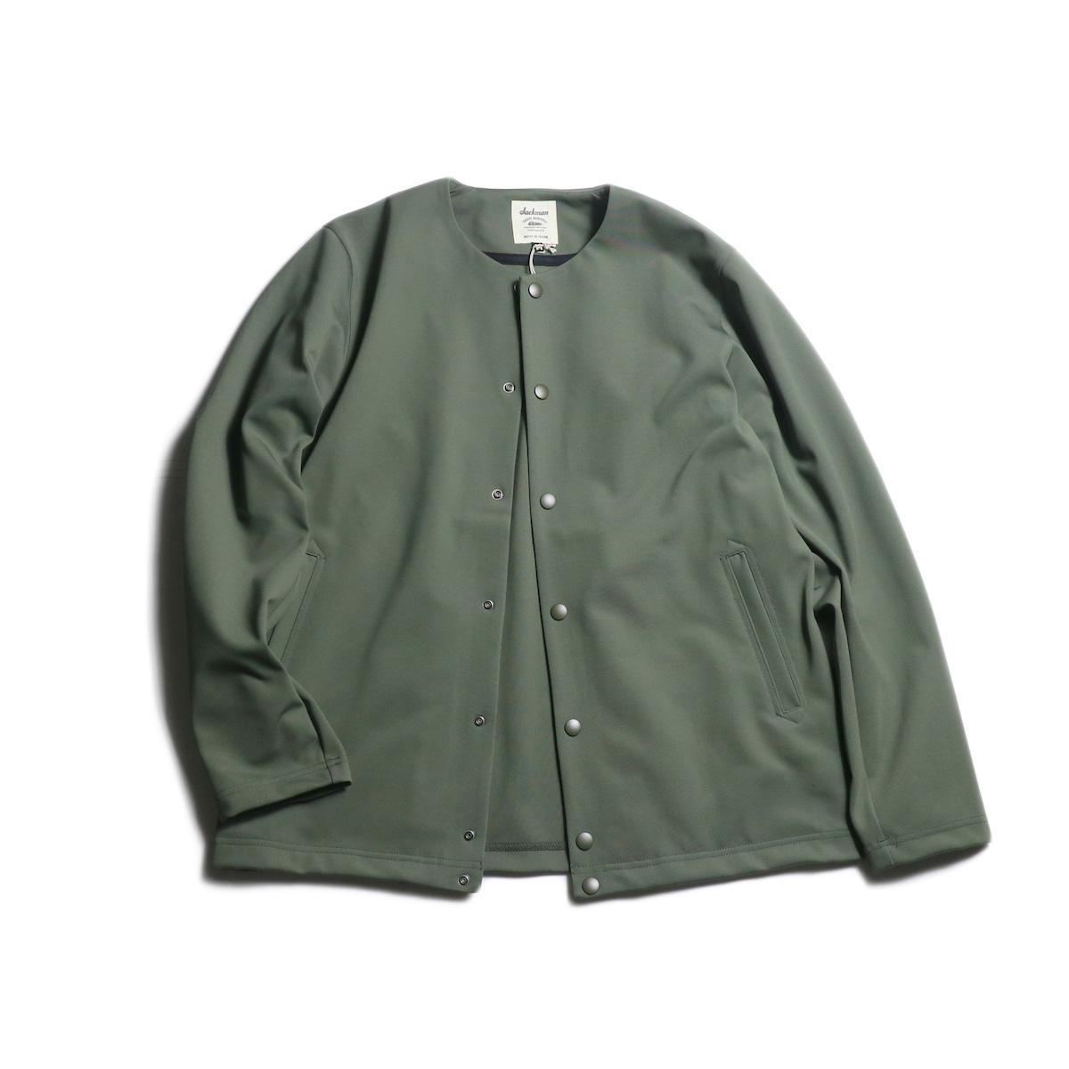 Jackman / Jersey Collarless Jacket (Ash Khaki)