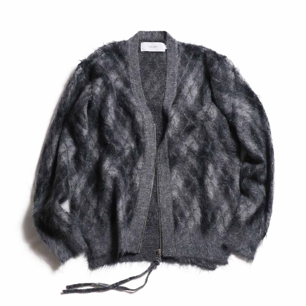 JANE SMITH / Argyle Mohair Cardigan -BLACK