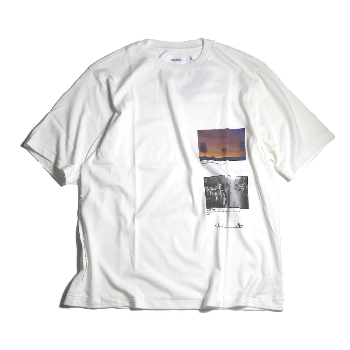 JANE SMITH / Print Tee (KERRY GETZ & JASON DULL,CANAL STREET IN THE RAIN S/S) -White正面