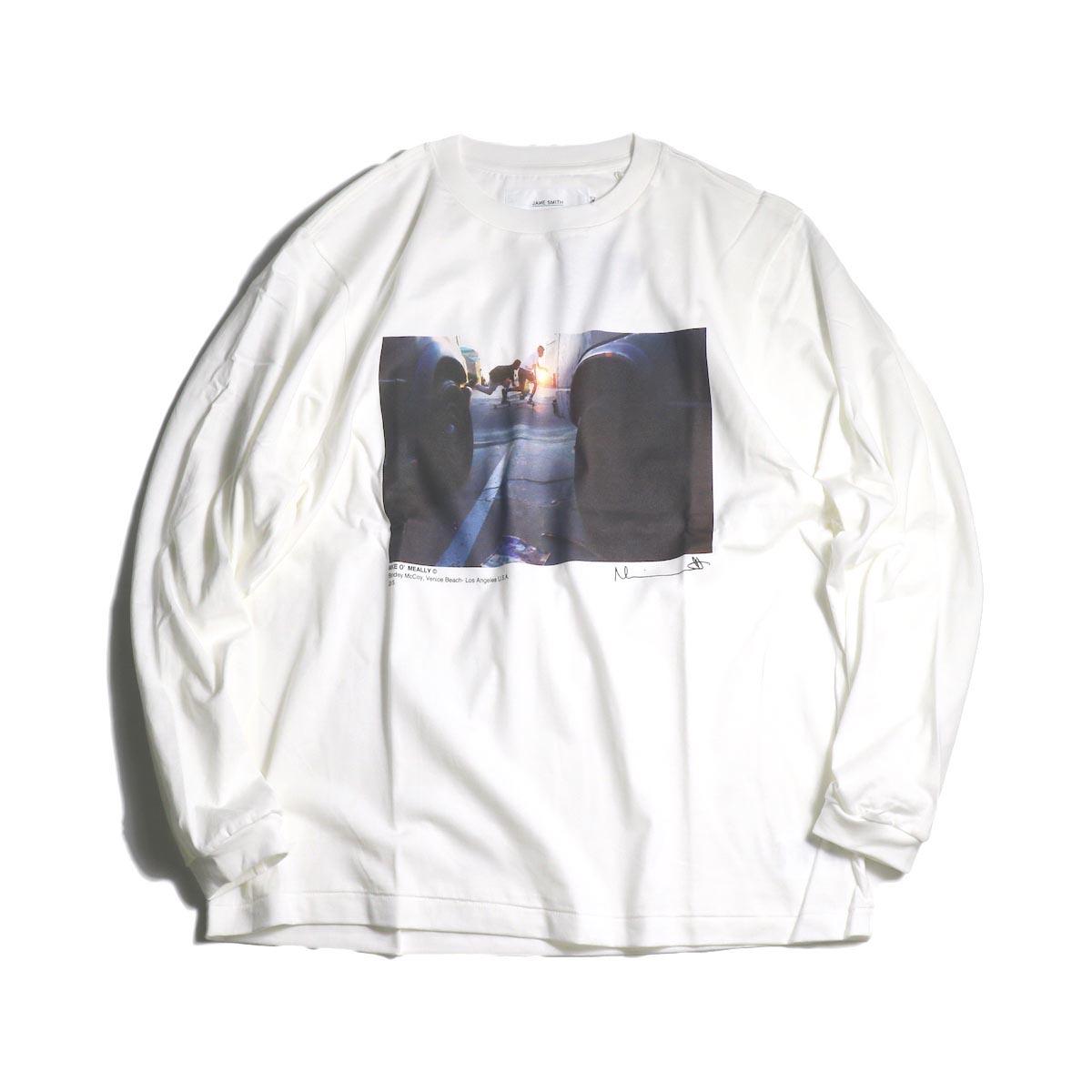 JANE SMITH / Print Tee (BLONDEY MCCOY L/S) -White正面