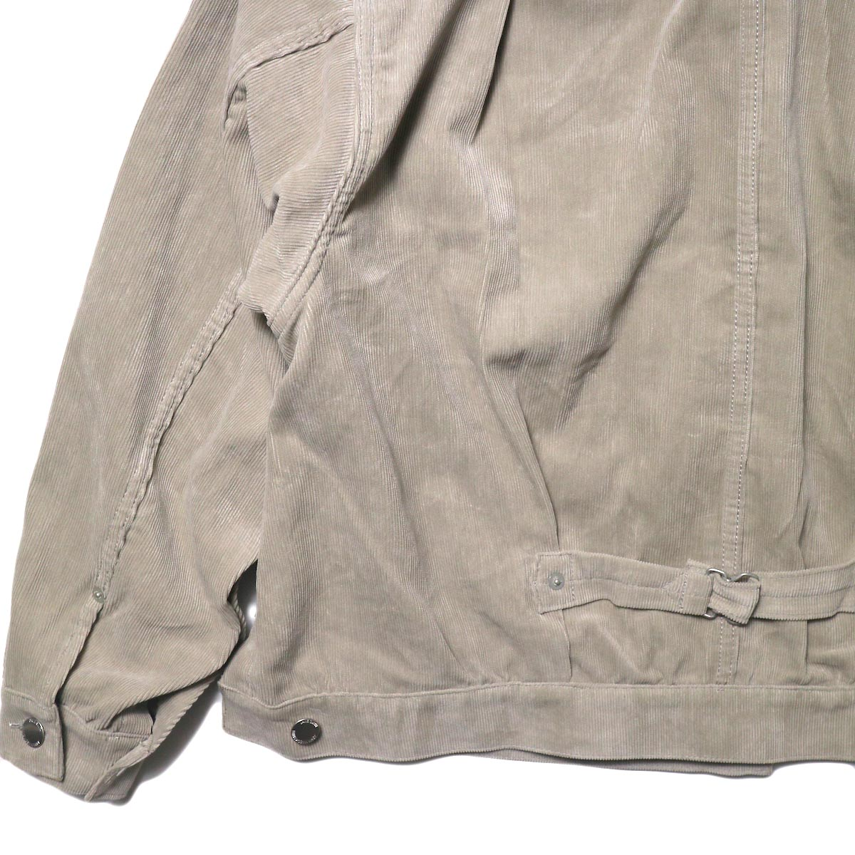 JANE SMITH / TRUCKER JACKET (fawn beige) 背面 袖・裾