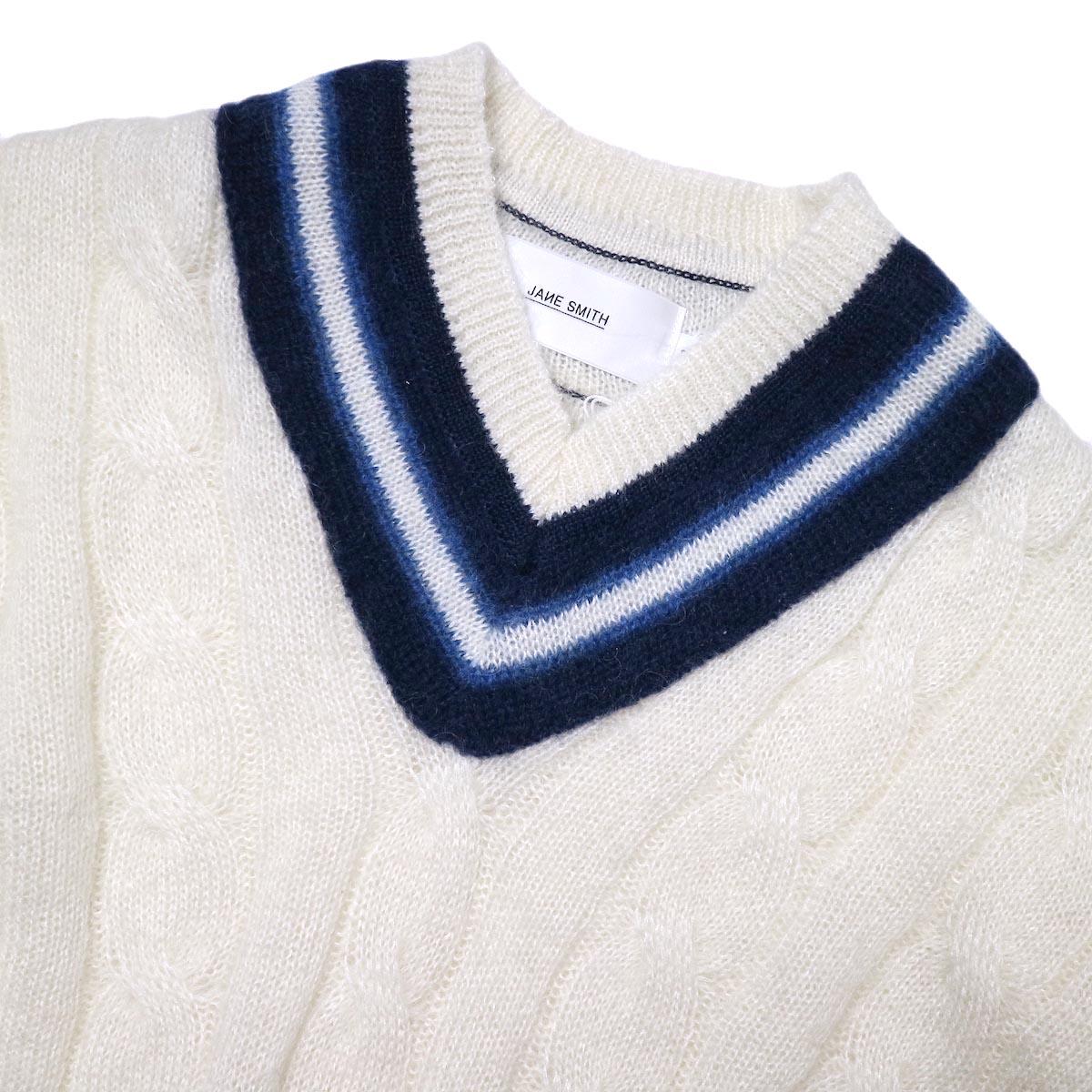 JANE SMITH / 5G BIG CABLE TILDEN V-NECK KINT (off white) ネック
