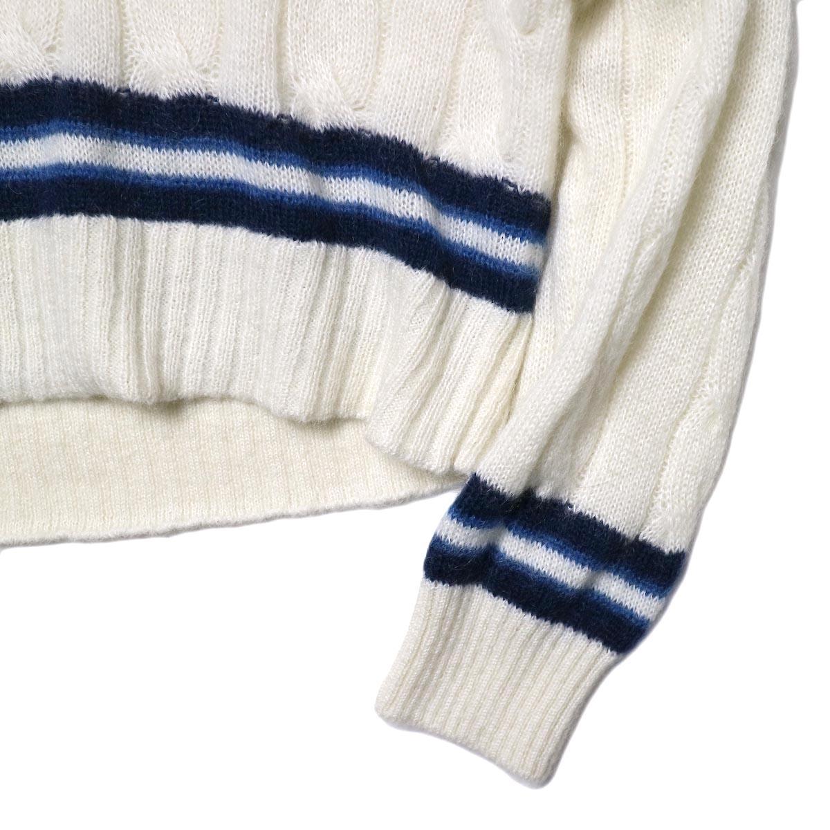 JANE SMITH / 5G BIG CABLE TILDEN V-NECK KINT (off white) 袖・裾