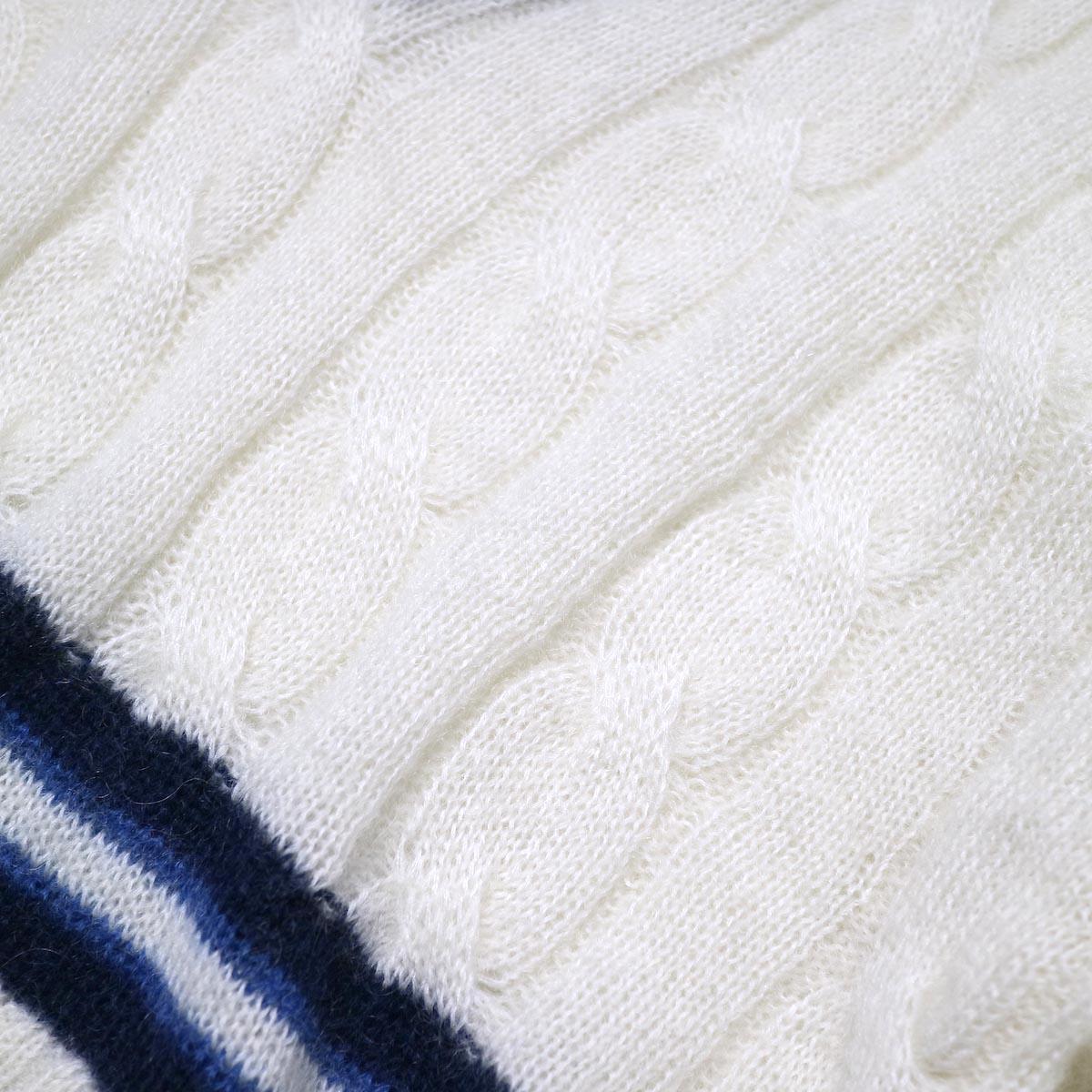 JANE SMITH / 5G BIG CABLE TILDEN V-NECK KINT (off white) 生地