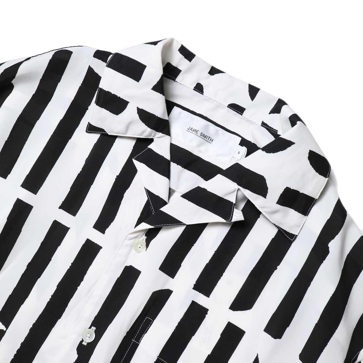 JANE SMITH / OPEN COLLAR SHIRTS S/S (White Black) フロントアップ