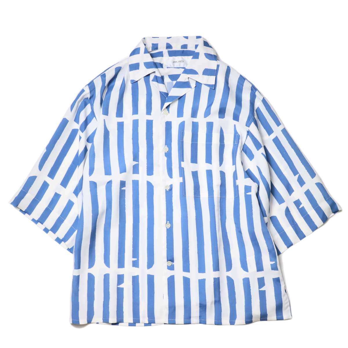 JANE SMITH / OPEN COLLAR SHIRTS S/S (White Blue) 正面