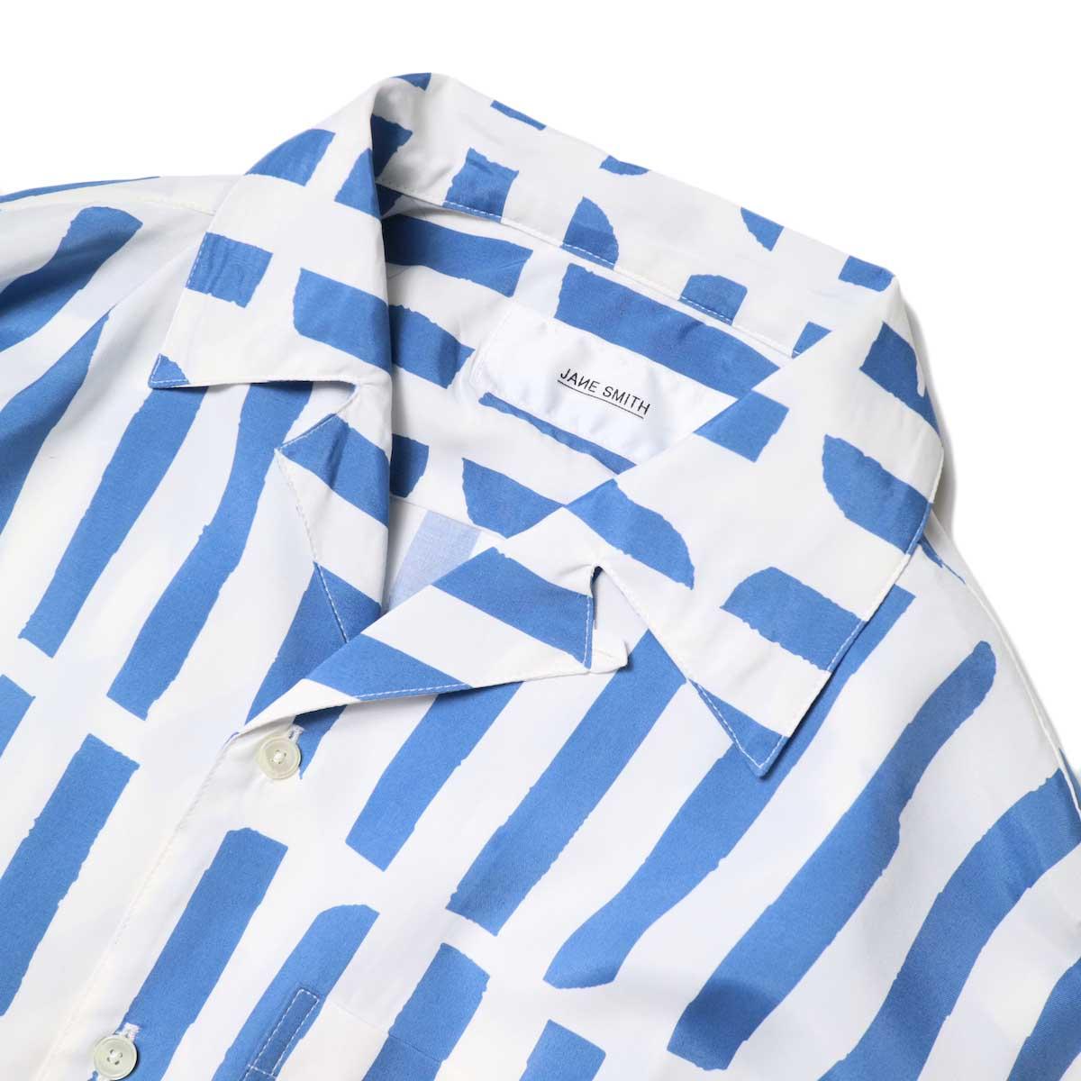 JANE SMITH / OPEN COLLAR SHIRTS S/S (White Blue) フロントアップ