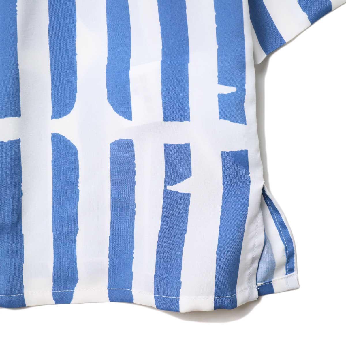 JANE SMITH / OPEN COLLAR SHIRTS S/S (White Blue) 裾・スリット