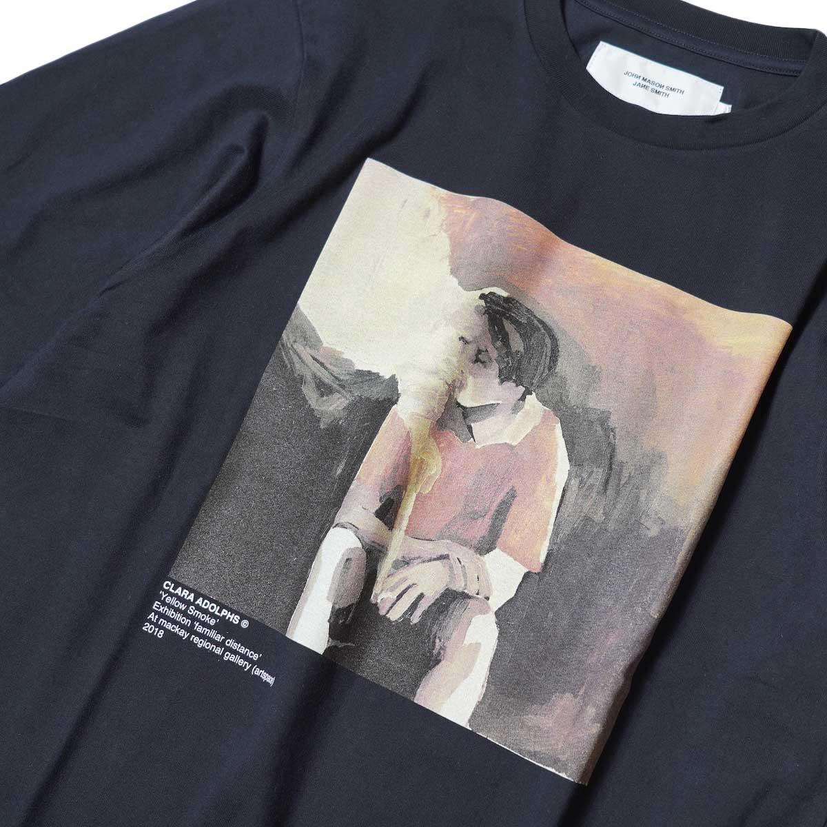 JANE SMITH / YELLOW SMOKE SHORT S/S T-Shirt (Black) フロントプリント