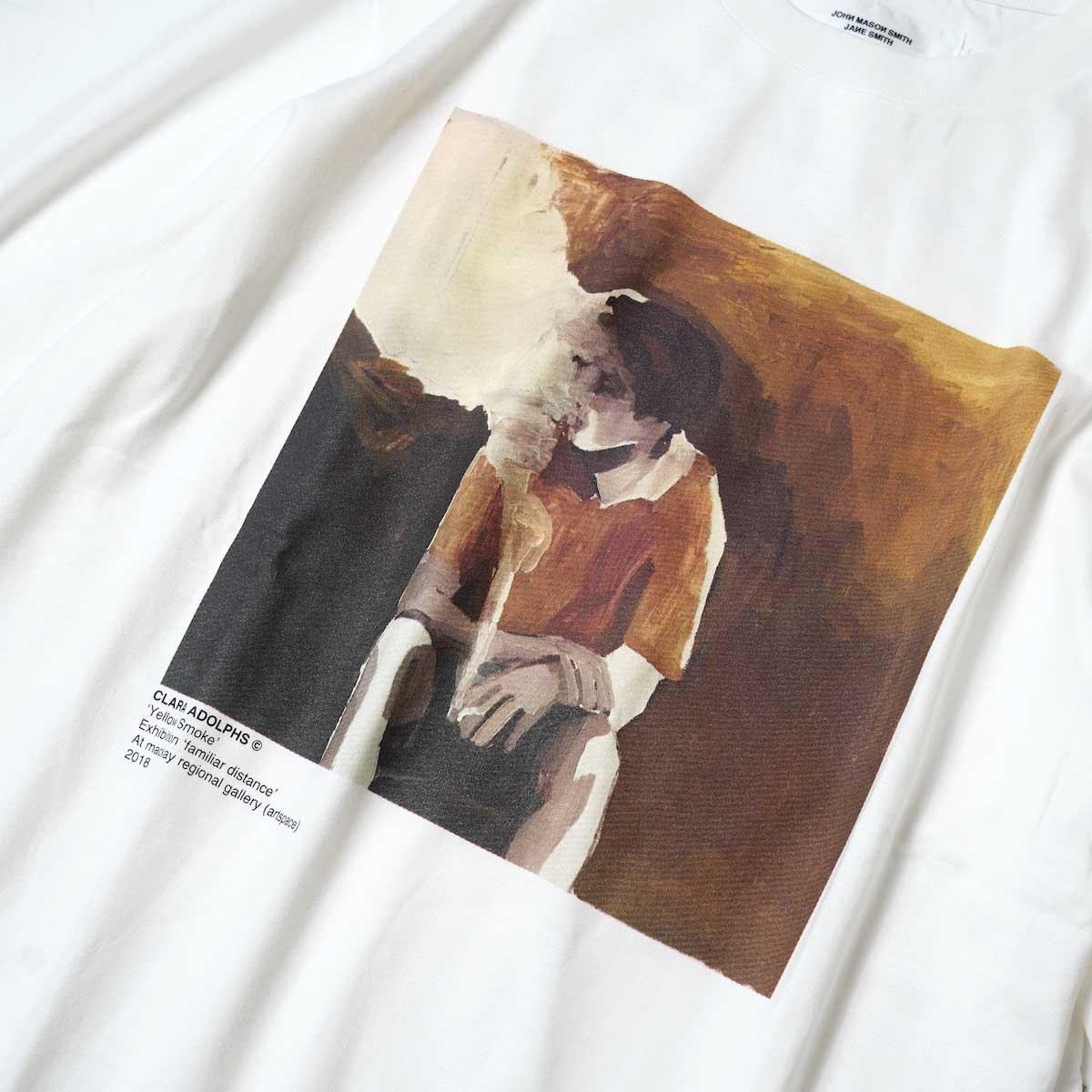 JANE SMITH / YELLOW SMOKE SHORT S/S T-Shirt (White) フロントプリント