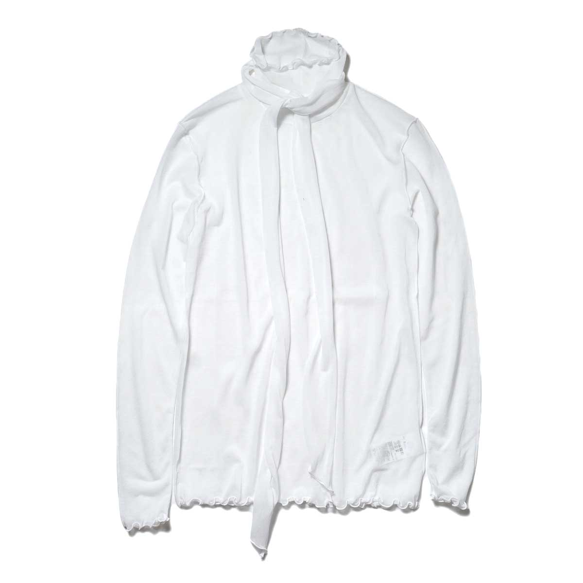 JANE SMITH / SHEAR BOW HIGHNECK PULLOVER (White) 正面