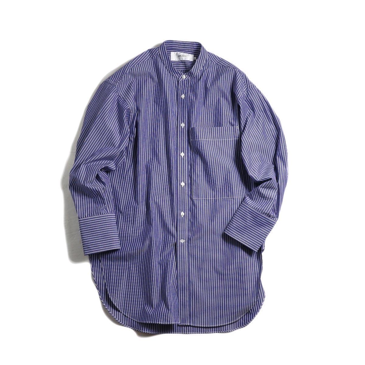 JANE SMITH / 1990s Banded Collar Shirts Stripe -Blue Stripe