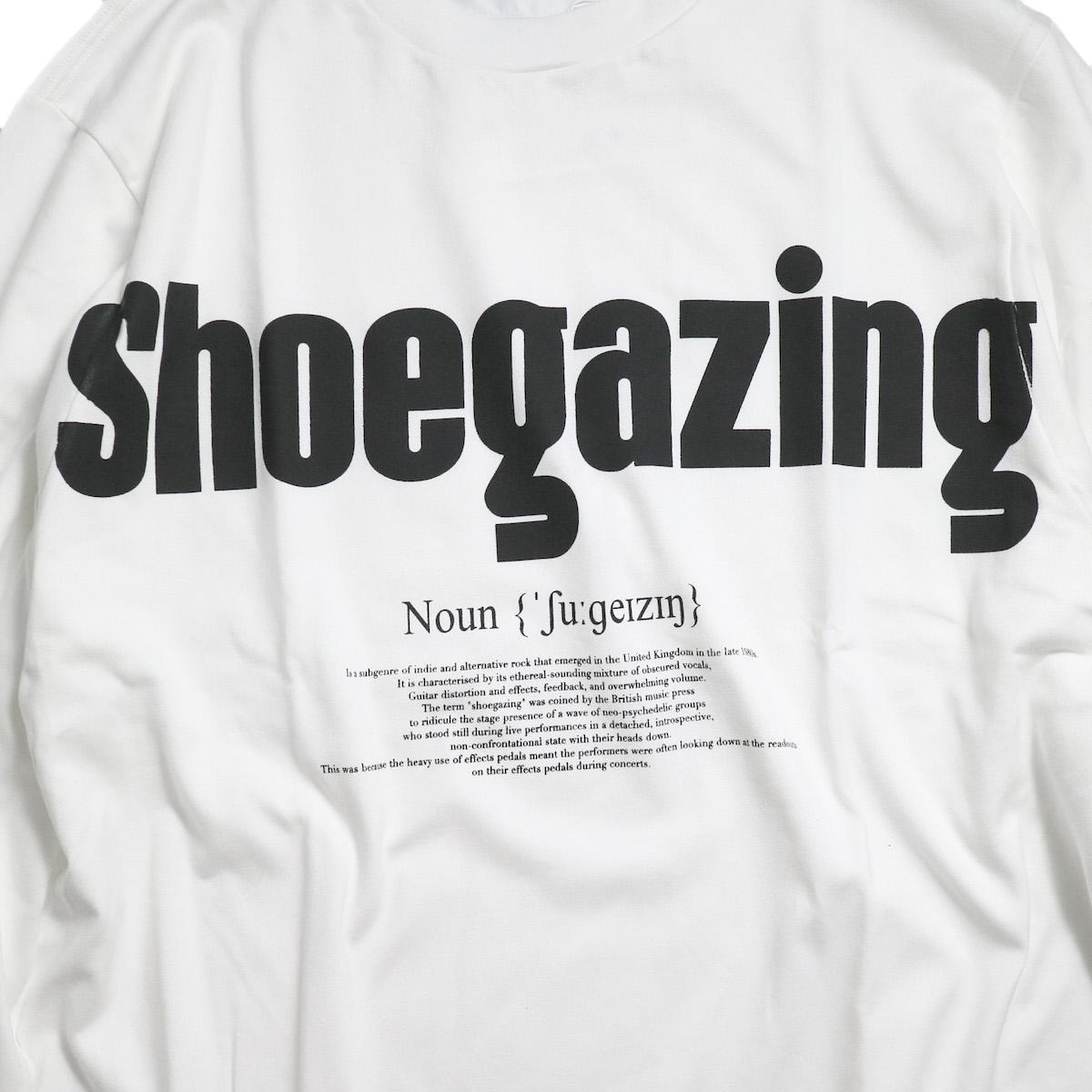 JANE SMITH / SHOEGAZING L/S T-SHIRT -White プリント