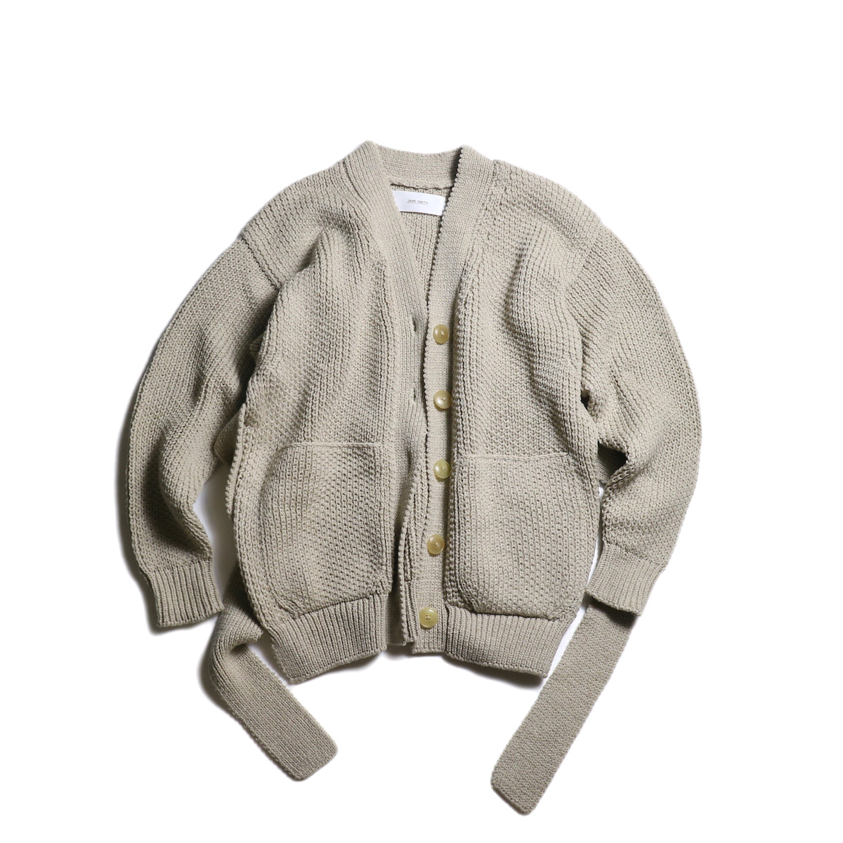 JANE SMITH / MIX PATERN BELT CARDIGAN (Beige)