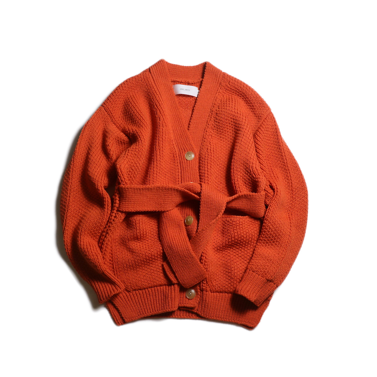 JANE SMITH / MIX PATERN BELT CARDIGAN (Orange)