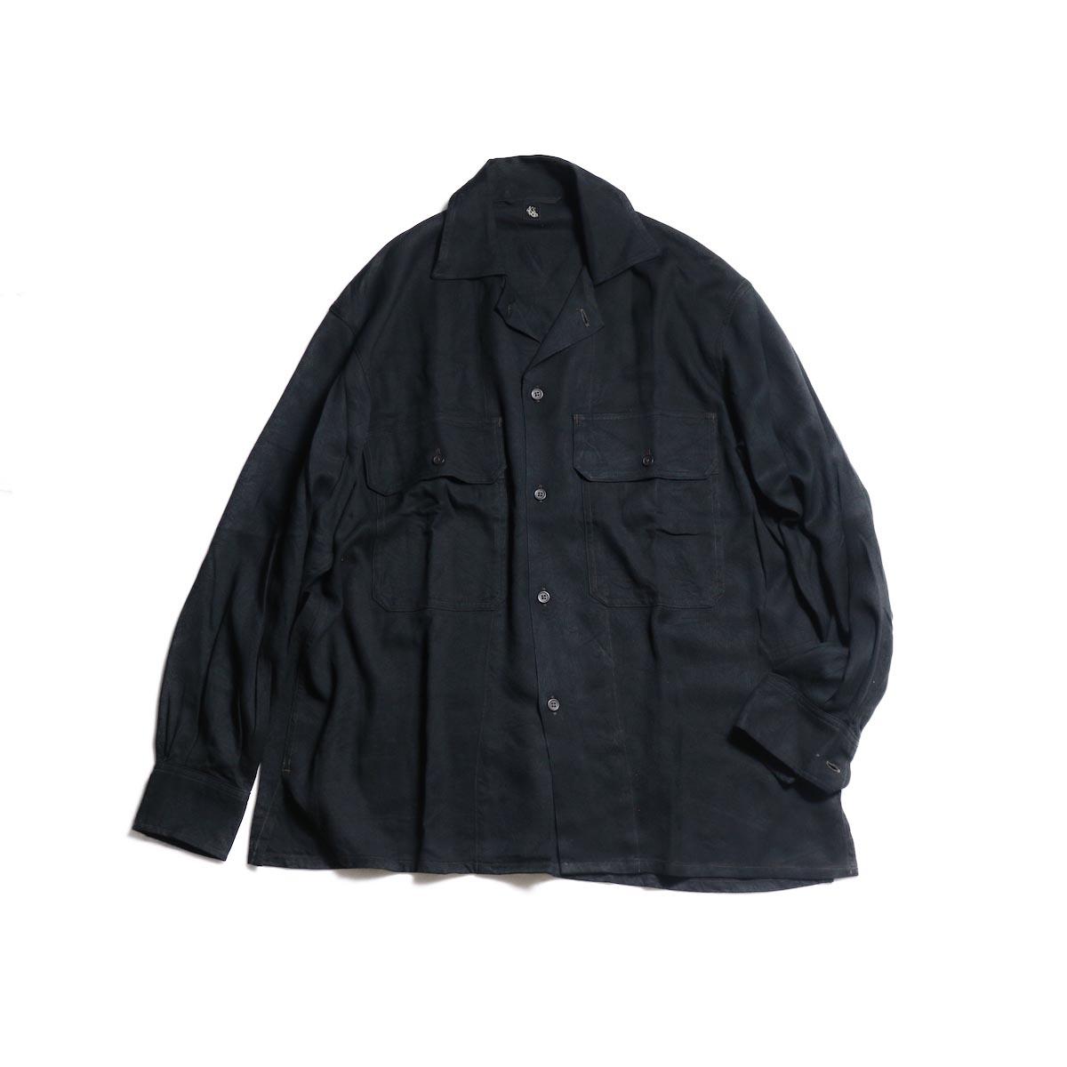 Kaptain Sunshine / Open Collar Shirt (Black)