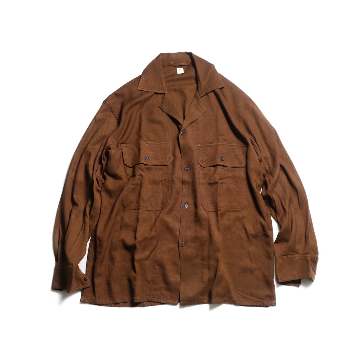 Kaptain Sunshine / Open Collar Shirt (Brick Brown)