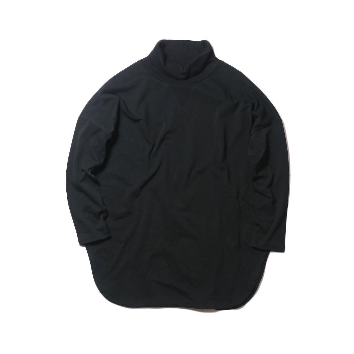 KHA:KI / ROUND HEM HIGH NECK TOP (black)