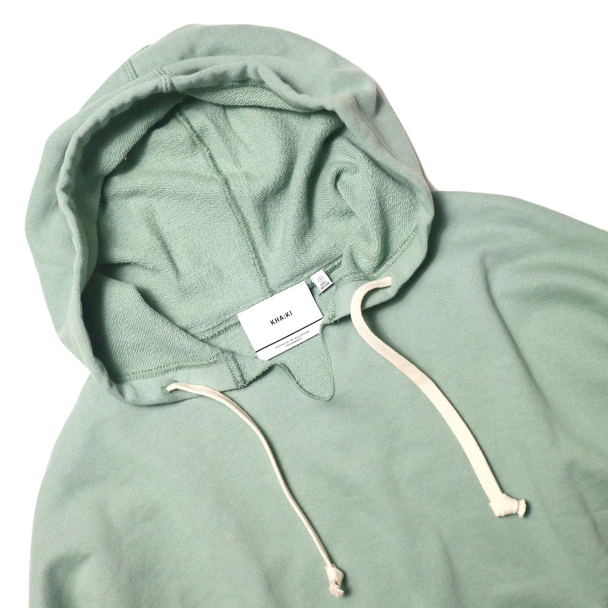 KHA:KI / SWEAT WIDE HOODIE (vtg green) フード