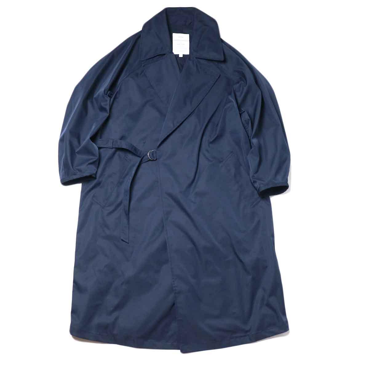 KHA:KI / BELTED WRAP TRENCH COAT (Navy) 正面①
