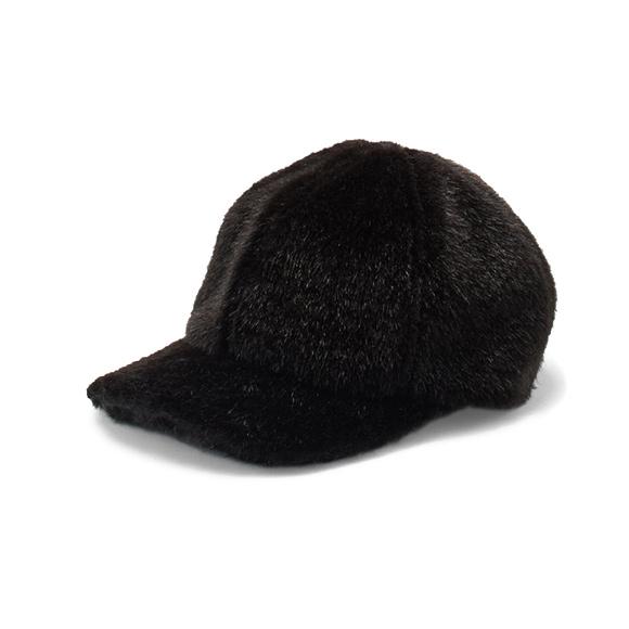 KIJIMA TAKAYUKI / Fur Baseball Cap (W-182963) -BLACK