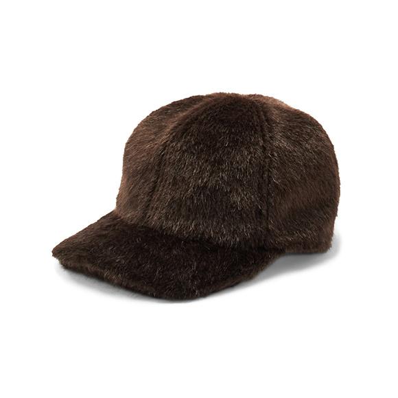 KIJIMA TAKAYUKI / Fur Baseball Cap (W-182963) -BROWN