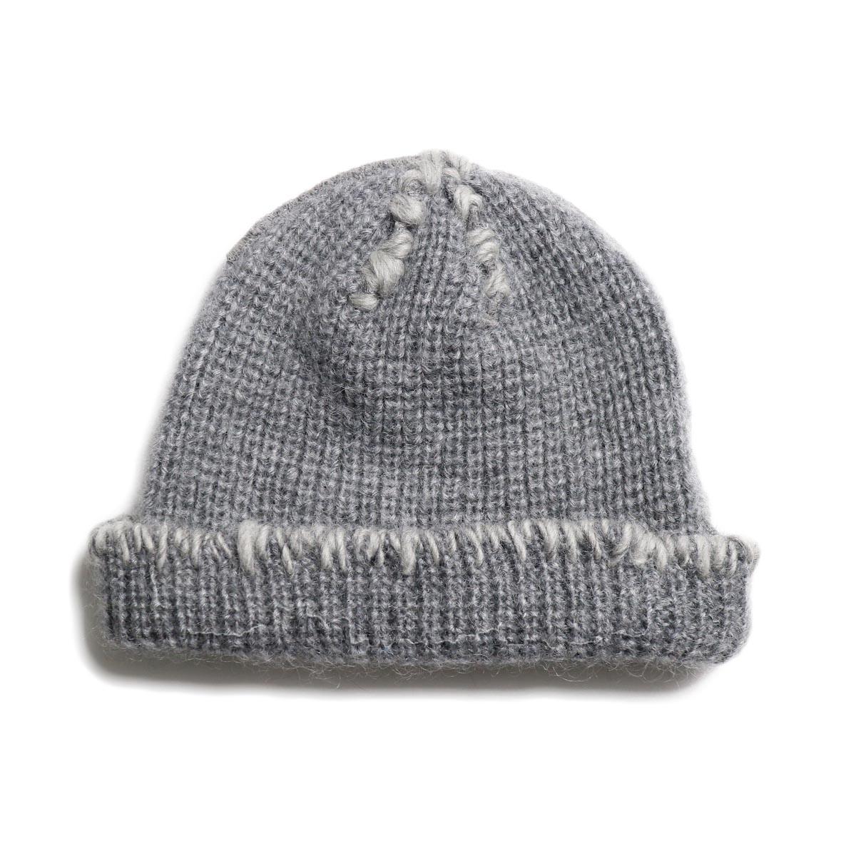 KIJIMA TAKAYUKI / Damage Knit Cap (KN182909) GRAY 正面